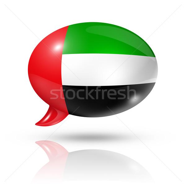 Emirados Árabes Unidos bandeira balão de fala tridimensional isolado branco Foto stock © daboost