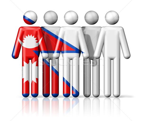 Banderą Nepal stick figure społecznej społeczności symbol Zdjęcia stock © daboost