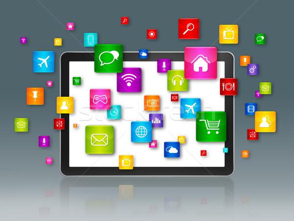 Dijital tablet uçan uygulamaları simgeler 3D Stok fotoğraf © daboost