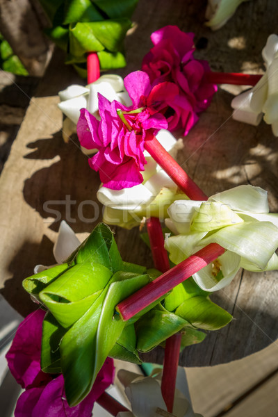 Foto stock: Polinésio · flor · colar · tradicional · madeira