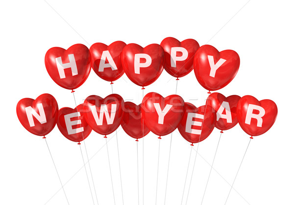 red happy new year heart shaped balloons Stock photo © daboost