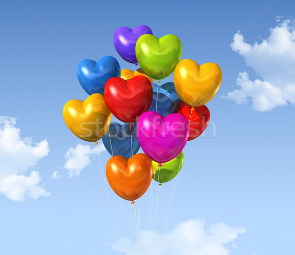 colored heart shape balloons on a blue sky Stock photo © daboost