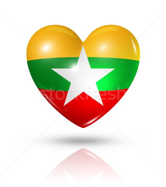 Amor birmânia Mianmar coração bandeira ícone Foto stock © daboost