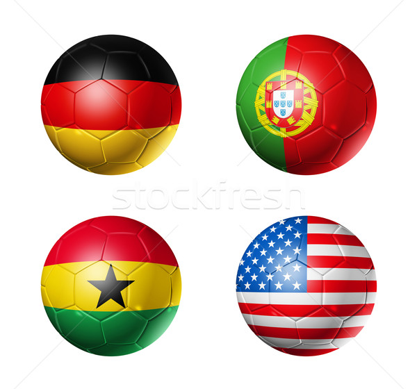 Brazil world cup 2014 group G flags on soccer balls Stock photo © daboost