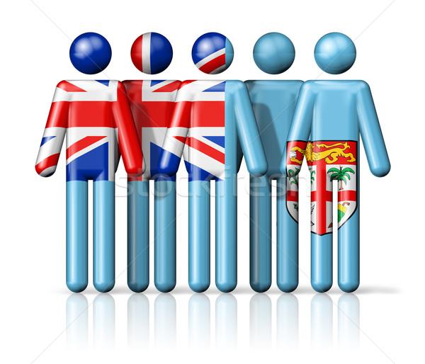 флаг Фиджи stick figure социальной сообщество символ Сток-фото © daboost