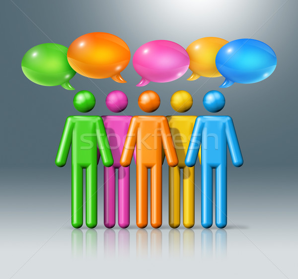 group of stick figures people with speech bubbles Stock photo © daboost