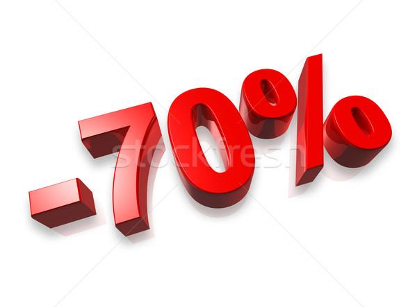 Photo stock: Pour · cent · 3D · nombre · isolé · blanche · argent