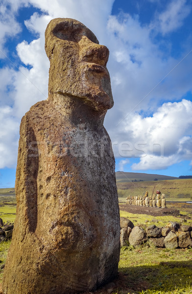 Moai statue, ahu Tongariki, easter island Stock photo © daboost