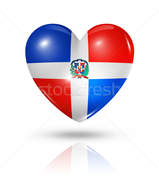 Love Dominican Republic, heart flag icon Stock photo © daboost