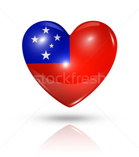 Liefde Samoa hart vlag icon symbool Stockfoto © daboost