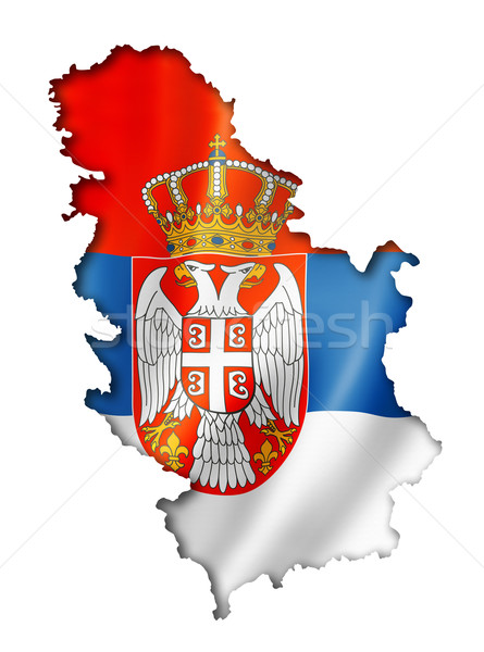 Serbian flag map Stock photo © daboost