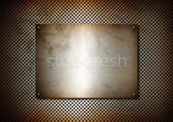 Argento metal texture arrugginito piatto alluminio griglia Foto d'archivio © daboost