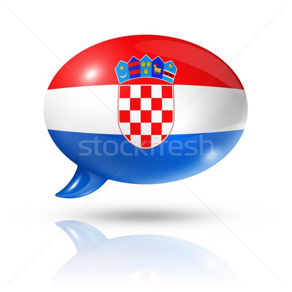 Croatian flag speech bubble Stock photo © daboost