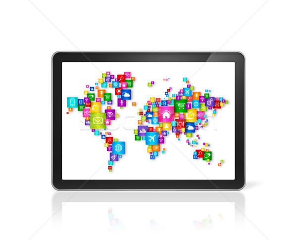 Wereldkaart iconen digitale 3D Stockfoto © daboost