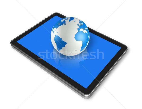 digital tablet pc and world globe Stock photo © daboost