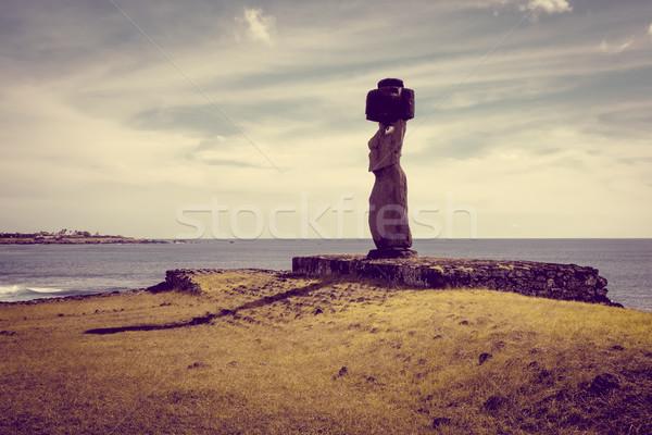 Páscoa ilha arte oceano rocha pedra Foto stock © daboost