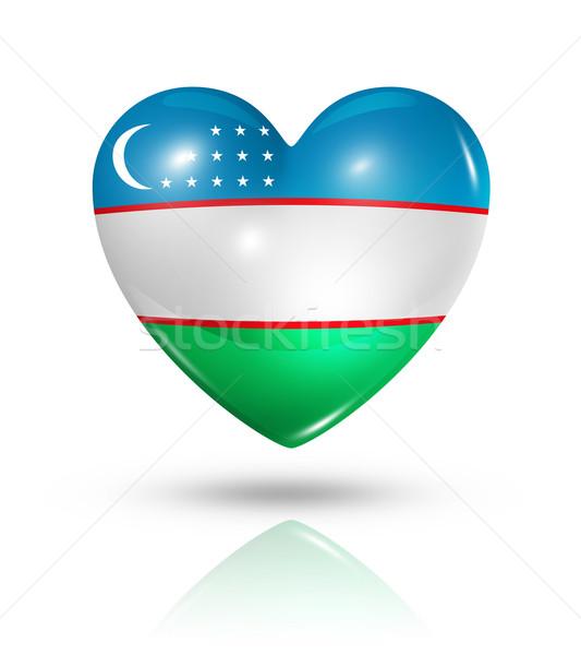 любви Узбекистан сердце флаг икона символ Сток-фото © daboost