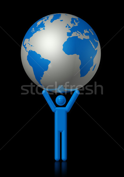 Man carrying a world globe Stock photo © daboost