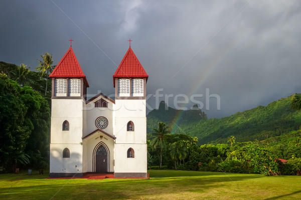 Rainbow on Haapiti church in Moorea island, landscape Stock photo © daboost