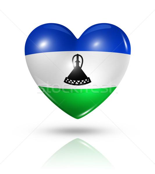 Amour Lesotho coeur pavillon icône symbole Photo stock © daboost