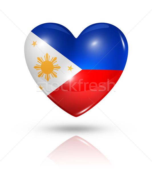 Amor Filipinas coração bandeira ícone símbolo Foto stock © daboost