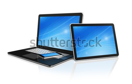 laptop, mobile phone and digital tablet pc computer Stock photo © daboost