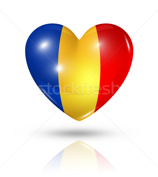 Love Chad, heart flag icon Stock photo © daboost