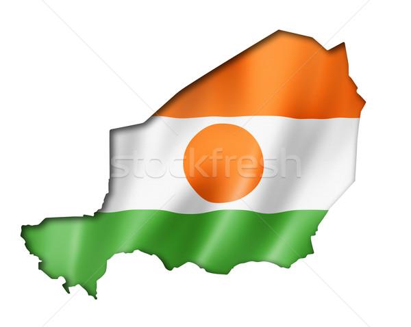 Níger bandera mapa tridimensional hacer aislado Foto stock © daboost