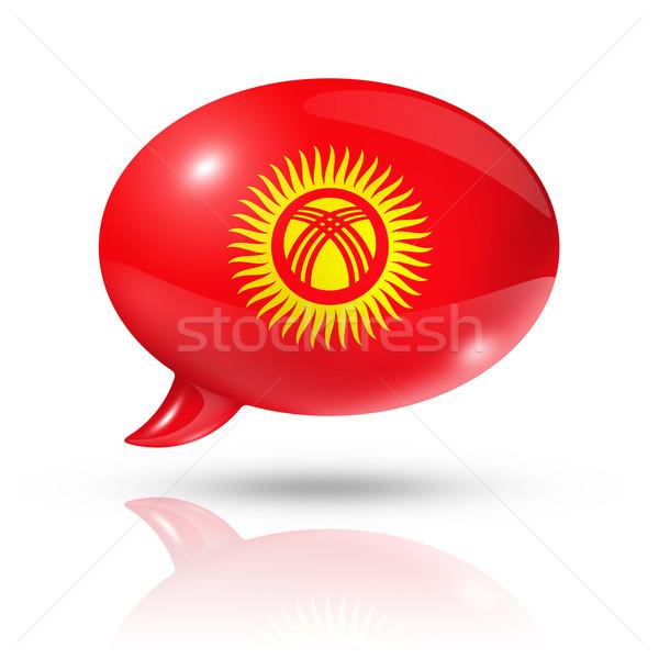 Kırgızistan bayrak konuşma balonu üç boyutlu yalıtılmış beyaz Stok fotoğraf © daboost