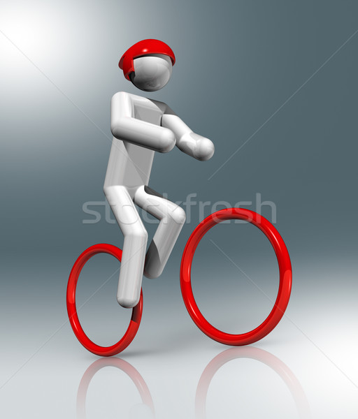 Biciklizik hegyi kerékpár 3D szimbólum sportok háromdimenziós Stock fotó © daboost