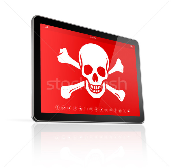 digital tablet PC with a pirate symbol on screen. Hacking concep Stock photo © daboost