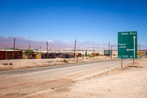út sivatag felhők tájkép felirat kék Stock fotó © daboost