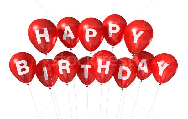 Stockfoto: Rood · gelukkige · verjaardag · ballonnen · 3D · geïsoleerd · witte