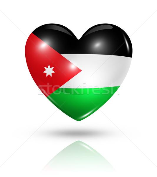Love Jordan, heart flag icon Stock photo © daboost