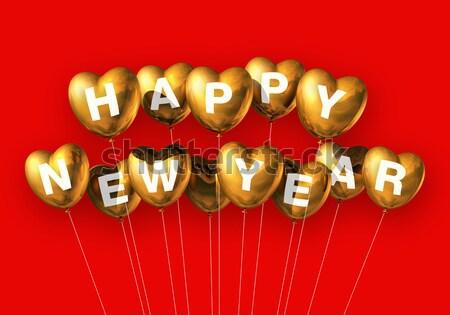 Stok fotoğraf: Altın · happy · new · year · kalp · balonlar · yalıtılmış