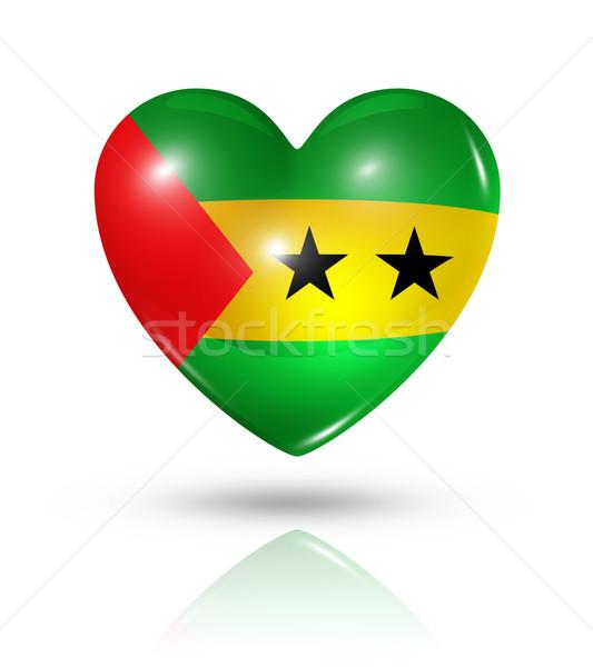 Love Sao Tome and Principe, heart flag icon Stock photo © daboost