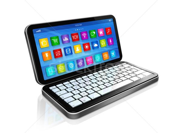 Netbook'lar uygulamaları simgeler arayüz 3D Stok fotoğraf © daboost