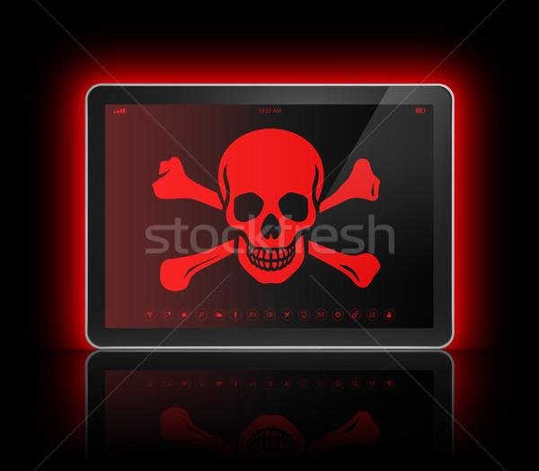 Digitalen Tablet Piraten Symbol Bildschirm Hacking Stock foto © daboost