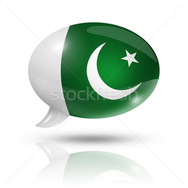 Pakisztáni zászló szövegbuborék háromdimenziós Pakisztán izolált Stock fotó © daboost