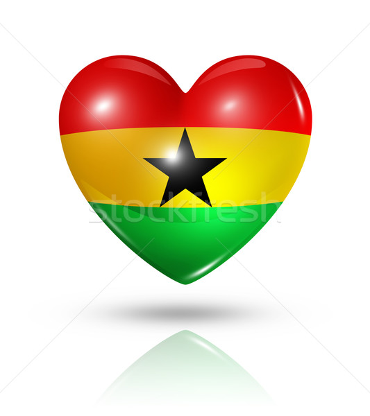 Love Ghana, heart flag icon Stock photo © daboost