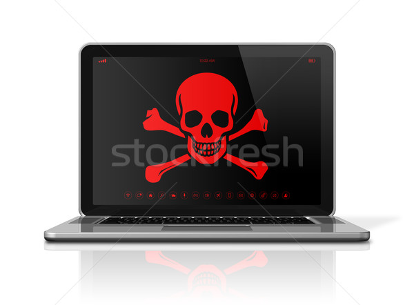 Laptop with a pirate symbol on screen. Hacker concept Stock photo © daboost