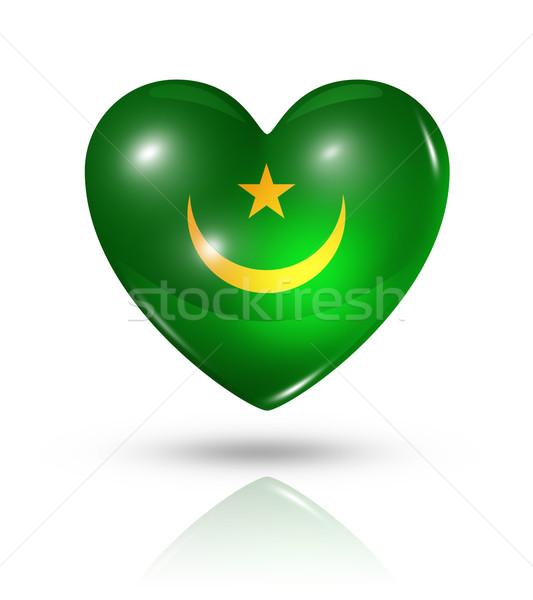 Love Mauritania, heart flag icon Stock photo © daboost