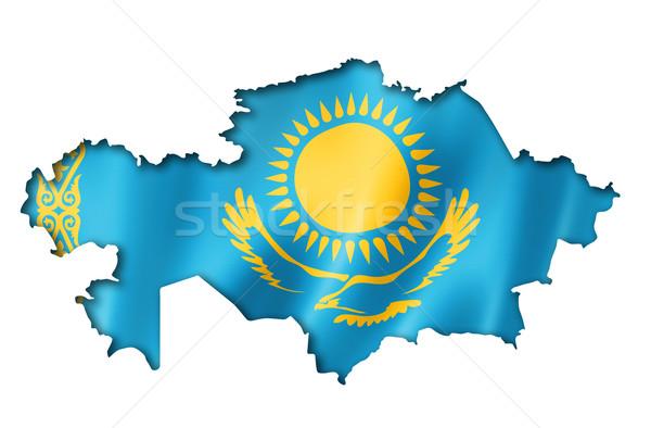 Казахстан флаг карта оказывать изолированный Сток-фото © daboost