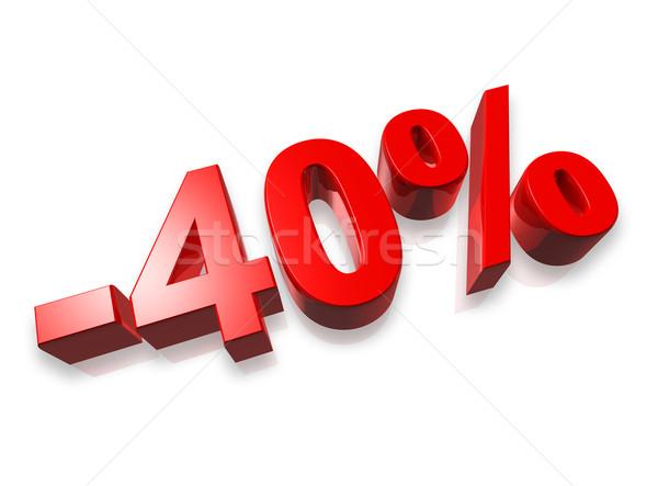 40 kırk yüzde 3D numara yalıtılmış Stok fotoğraf © daboost
