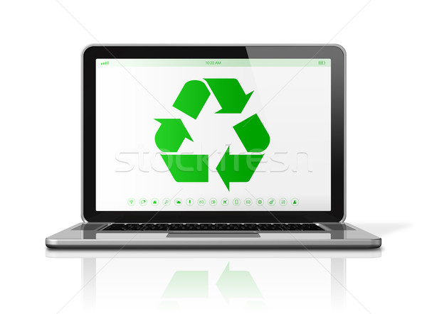 Laptop computer with a recycling symbol on screen. environmental Stock photo © daboost