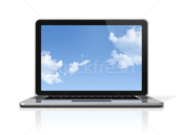 Laptop computer with sky screen isolated on white Stock photo © daboost