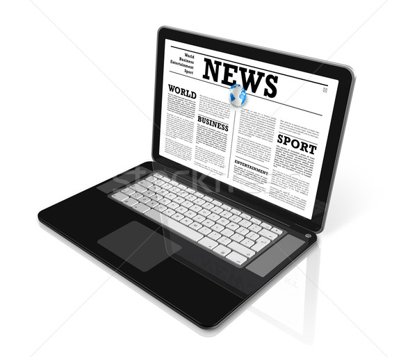 News on a laptop computer isolated on white Stock photo © daboost