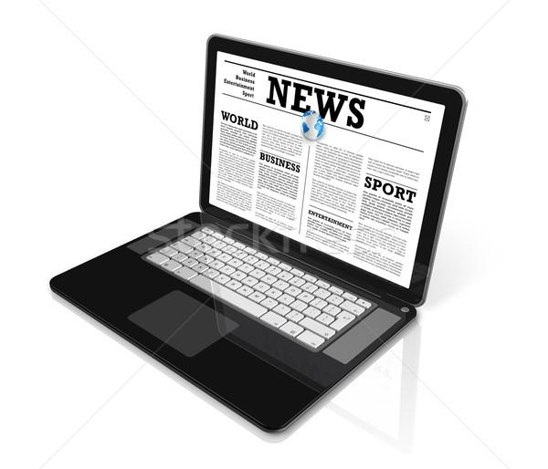 Nieuws laptop computer geïsoleerd witte een globale Stockfoto © daboost