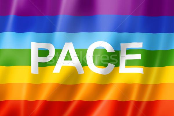 Gökkuşağı barış hız bayrak üç boyutlu vermek Stok fotoğraf © daboost