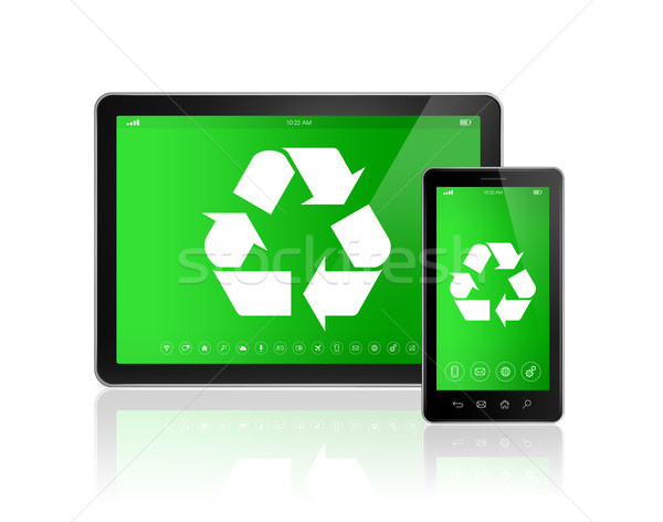 Digital tablet PC with a recycling symbol on screen. environment Stock photo © daboost